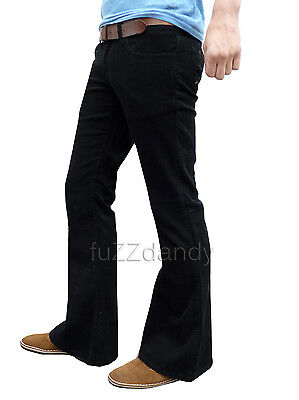 £36.99 • Buy Mens FLARES Black Bell Bottoms Cords Hippy Hippie Vtg Indie Trousers Pants NEW