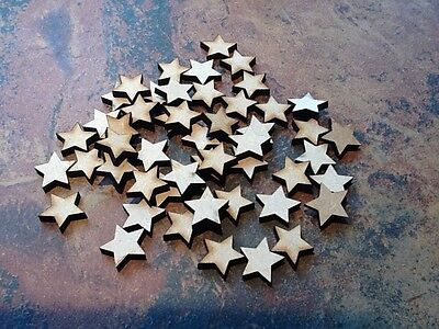 50x Wooden Star Shapes Laser Cut MDF. Blank Embellishments Craft 20mm X 20mm • 2.49£