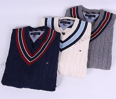 $75.99 • Buy Tommy Hilfiger Men Cable Knit Cricket V-Neck Classic Sweater - Free $0 Shipping