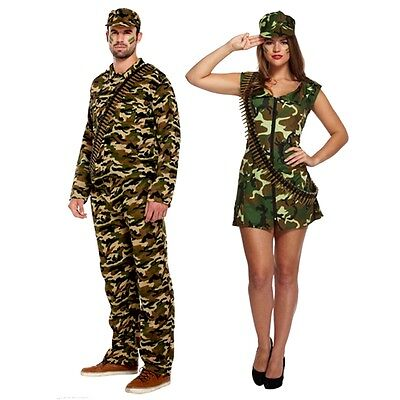 New Womens Mens Army Man Army Lady Camouflage Costume Soldier Fancy Dress Outfit • 5.95£