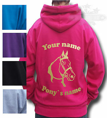 £17.99 • Buy PERSONALISED HORSE HOODIE, PONY Equestrian GIFT Children's & Adult's HORSE HEAD