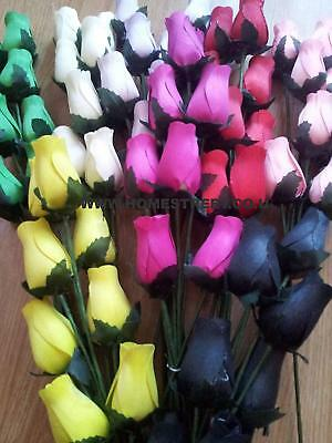 Wooden Roses Bouquet Dyed Closed Bud Rose Stems Choose Colours & Amount Required • 7.95£