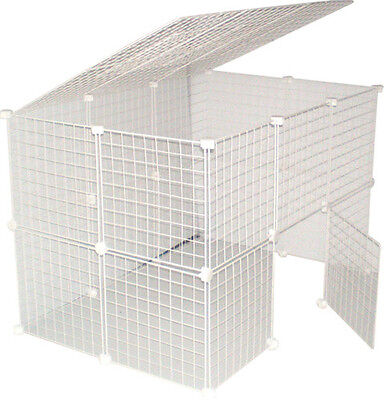 White Cat Kitten  Large Indoor Run Play Pen Cage Metal Grid Cube New Uk • 49.95£
