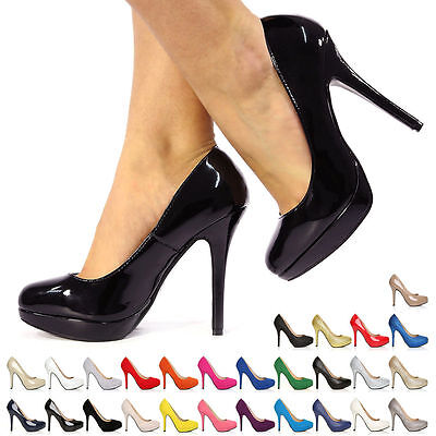 New Ladies Womens Stiletto High Heel Platform Party Court Shoes Size 3-8 • 16.99£