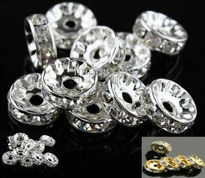 100 PREMIUM QUALITY GRADE A RHINESTONE RONDELLE SPACER BEADS 4,6,7,8,10mm • 4.49£