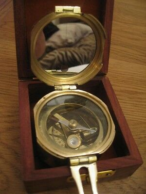 Quality Vintage Style Solid Brass Nautical Brunton Ships Compass In Teak Box • 22.99£
