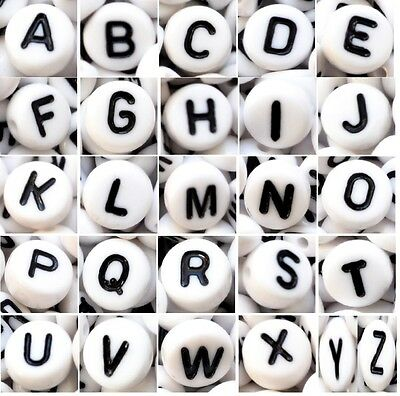 Acrylic Alphabet Beads, 7 Mm, WHITE, Flat Round, Single Letter A - Z & Mixed • 1.99£