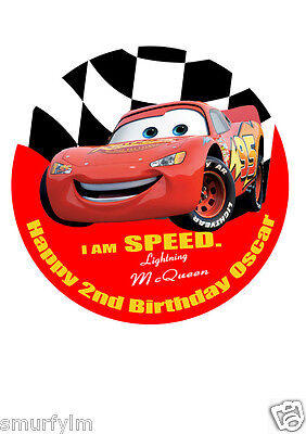 Lightning McQueen Happy Birthday Cake Topper Icing Sugar 7.5  Edible • 5.49£