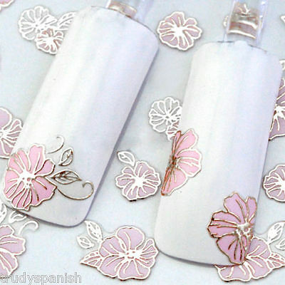 £1.85 • Buy Nail Art Stickers Decals Transfers Vintage Flowers Roses Nail Art Metallic Gold