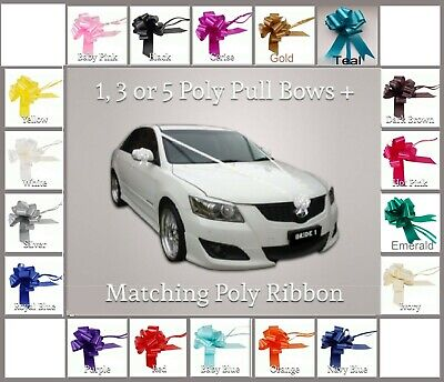 Wedding Car Decoration Kit 1, 3, Or 5  Large 50mm Pull Bows & 6 Metres Ribbon   • 2.65£