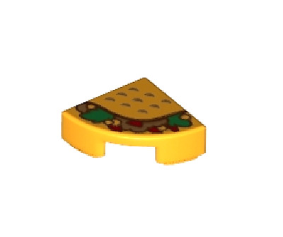 $ CDN2.66 • Buy LEGO TACO ~ Minifigure Minifig Mexican Food 1/4 Of Round 2x2 Printed Tile  NEW