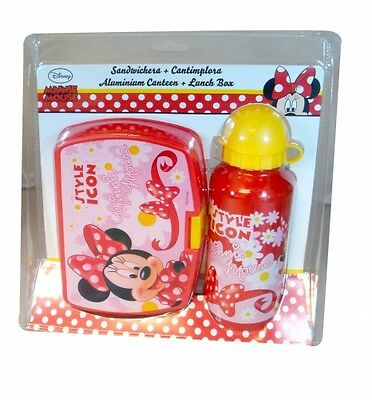 Disney Minnie Mouse 'Style Icon' School Sandwich Box And Aluminium Bottle Lunch • 7.69£