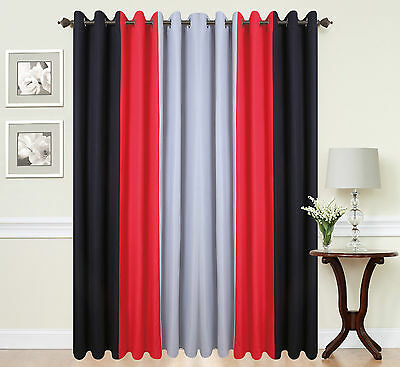 Eyelet Curtains Ring Top Fully Lined Pair Black Ready Made PLAIN 3TONE RED BLACK • 6.99£