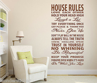 Family House Rules Wall Sticker Quotes Wall Art Vinyl DIY Wall Decal TOP QUALITY • 13.99£