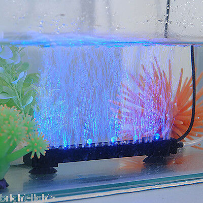Led Aquarium Fish Tank Lights Air Stone Bubble Submersible Under Water Blue • 19.99£