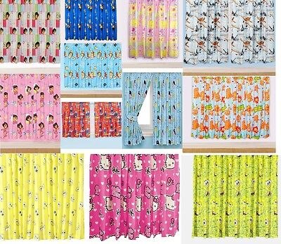 New Childrens Floral Novelty Football Character Curtains Boys Or Girls Pink Blue • 13.99£
