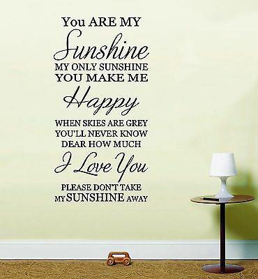 £6.99 • Buy You Are My Sunshine Wall Art Sticker Inspirational Quote
