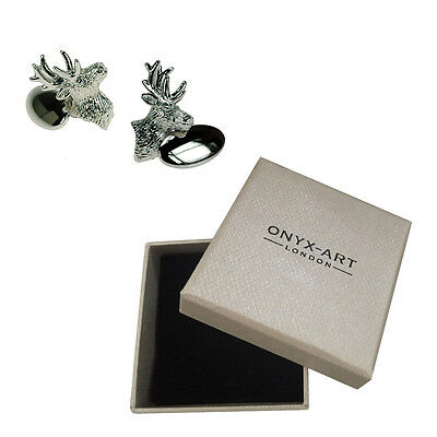 Mens Silver Stag Animal Deer Cufflinks & Gift Box By Onyx Art • 8.99£