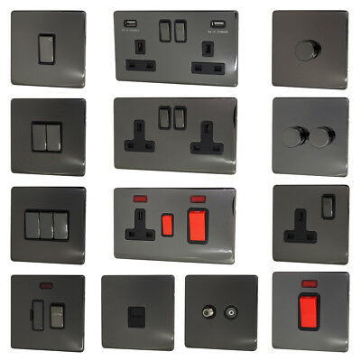 £9.95 • Buy Black Nickel Screwless Light Switch, USB Plug Sockets, Dimmer & Cooker Switches