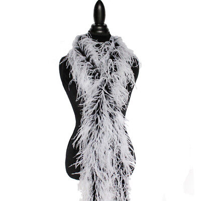 £37.86 • Buy White/Black 2ply Ostrich Feather Boa Scarf Prom Halloween Costumes Dance Decor