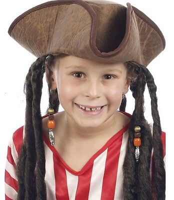 Childrens Pirate Fancy Dress Tricorn Hat & Dreadlock Hair Jack Sparrow H38 520 • 4.45£