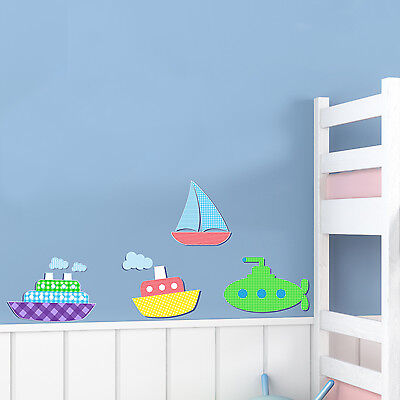 Childrens / Kids Bedroom Nautical Boats Wall Art Stickers (Boys Decal Baby)   • 5.99£