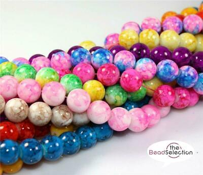 £2.69 • Buy 200x 6mm 100x 8mm 50x 10mm MARBLE EFFECT GLASS DRAWBENCH BEADS COLOUR CHOICE