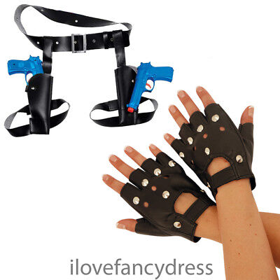 £3.99 • Buy Twin Thigh Guns And Holster Studded Punk Gloves Fancy Dress Costume Accessory