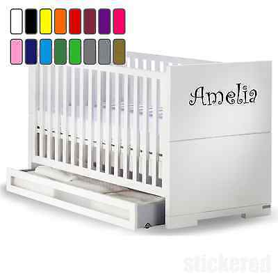 Personalised Name Vinyl Sticker Decal For Baby Cot / Crib Boys Girls Kids  • 3.50£