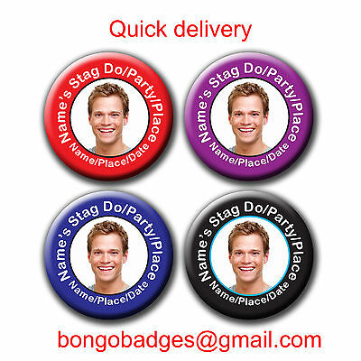 Personalised Photo Stag Night/Party/Do Badges - 58mm Black Purple Red Blue • 1.10£