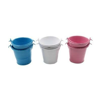 £7.95 • Buy 2  Galvanised Metal Mini Craft Pail Buckets Wedding Favors Favours