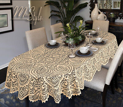 Oval Round Lace Tablecloth White Or Beige Large Premium Quality • 19.10£