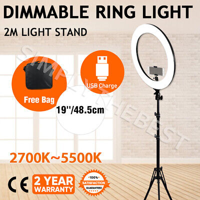 AU119.94 • Buy 19  Dimmable LED Ring Light 5500K Diffuser Stand Make Up For Phone Camera Video