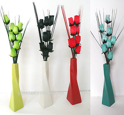 Wooden Roses With Grass In A Twist Ceramic Vase - New Artificial Flower Displays • 14.95£
