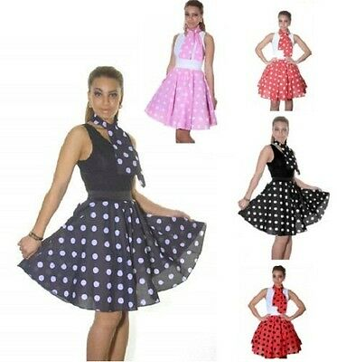 Ladies Women Polka Dot Rock N Roll 50's Style Circular Poodle Skirt--Length 18  • 6.64£