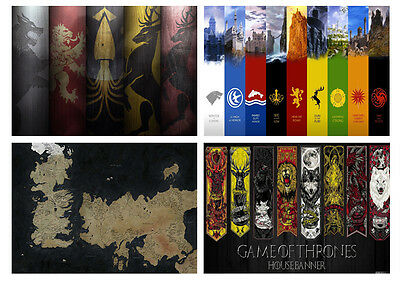 £4.95 • Buy Game Of Thrones Houses Westeros Free City Maps Crest Shields Essos A3/A4 POSTER