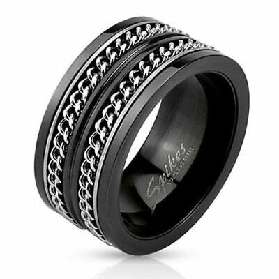 $10.78 • Buy Black Dual Cuban Link Spinner Ring Stainless Steel Men Size 9 10 11 14 Clearance