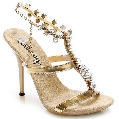 £17.97 • Buy A-509, Hot Shoes Diamond Crystal Stone W/Ankle Strap 5  Heel Party Sandal.