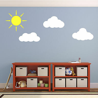 Sun And Clouds Wall Decals - Stickers For Child's Nursery Bedroom Or Playroom • 15.99£