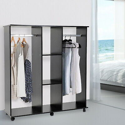 £57.99 • Buy HOMCOM Mobile Double Open Wardrobe W/ Clothes Hanging Rail Colthing Black