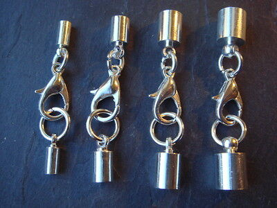 Silver Cord Ends Caps Sets With Lobster Clasps To Fit 2mm 3mm 4mm & 5mm Cord • 7£