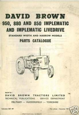 David Brown Tractor 850 880 950 Implematic Parts Manual • 24.99£