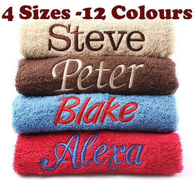 New EMBROIDERED PERSONALISED BATH TOWEL Ideal Gift Set ANY NAME Egyptian Cotton • 10.49£