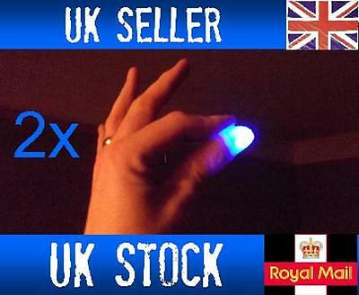 £2.69 • Buy 2x Magic Light Up Flashing Thumbs Fingers BLUE Trick Appearing Light Close Up