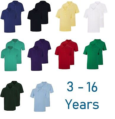 £7.95 • Buy Twin Pack Of 2 Boys Plain Polo Shirt School P.E Sports GYM Ages 3 - 16 Years