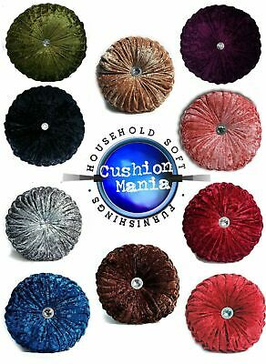 Cushion Crush Velvet Cushions Luxury Diamante Chic Filled Scatter Cushion Round • 10.50£