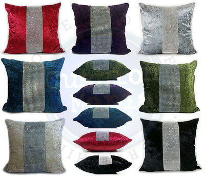 Large Diamante Middle Lace Crush Velvet Cushions Or Covers,17 X17  And 21 X21   • 8.25£