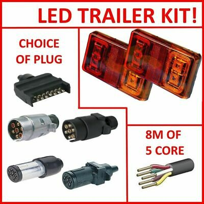 AU33.99 • Buy Pair Of Led Trailer Lights, 1 X Plug, 8m X 5 Core Wire Kit Rewire Complete