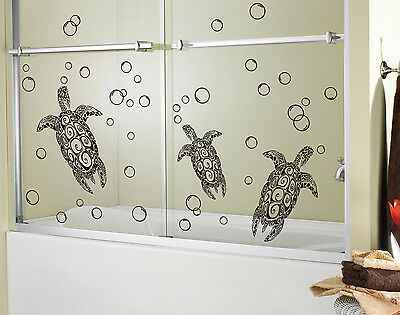 Sea Turtles Bathroom Wall Art Vinyl Stickers, Children Wall Decal- HIGH QUALITY • 9.99£