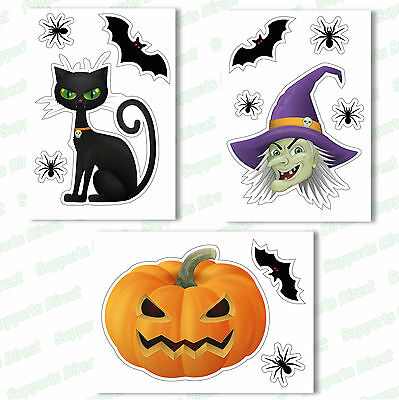 £4.99 • Buy Halloween Window Clings Reusable Stickers Quick Simple Decorations Witch Bat Cat